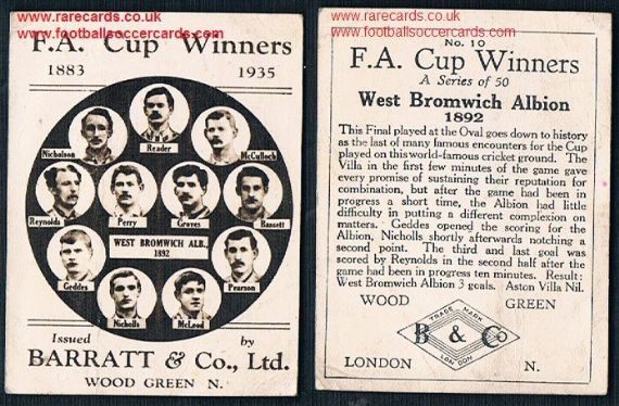 1935 Barratt F A Cup Winners 10 WBA 1892 football card